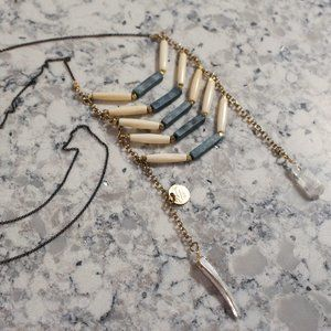 [5/$25] Long Native American Bone Tribal Necklace